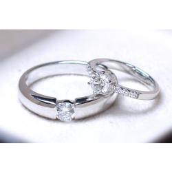 แหวนคู่รักเงินแท้ เพชรสังเคราะห์ ชุบทองคำขาว รุ่น LV14781530 Dot Moon B & I Do