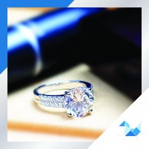 แหวนเงินแท้ เพชรสังเคราะห์ ชุบทองคำขาว รุ่น RG1610 4ct HS