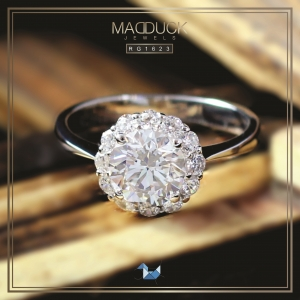 แหวนเงินแท้ เพชรสังเคราะห์ ชุบทองคำขาว รุ่น RG1623 1.25carat Bloom