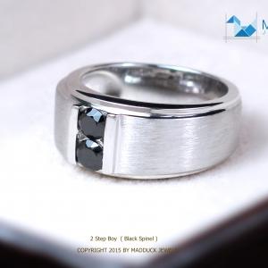 แหวนเงินแท้ พลอยแท้ ชุบทองคำขาว รุ่น RG1408bs Dimension Black Spinel