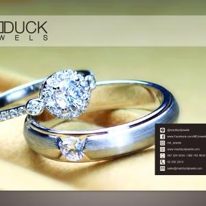 แหวนคู่รักเงินแท้ เพชรสังเคราะห์ ชุบทองคำขาว รุ่น LV16341635 Tollway Arrow & JUB