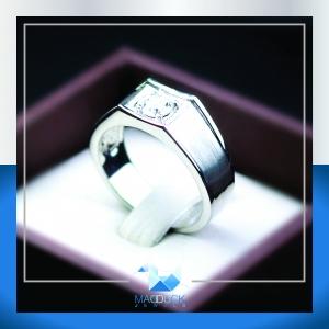 แหวนเงินแท้ เพชรสังเคราะห์ ชุบทองคำขาว รุ่น RG1426 Dimension